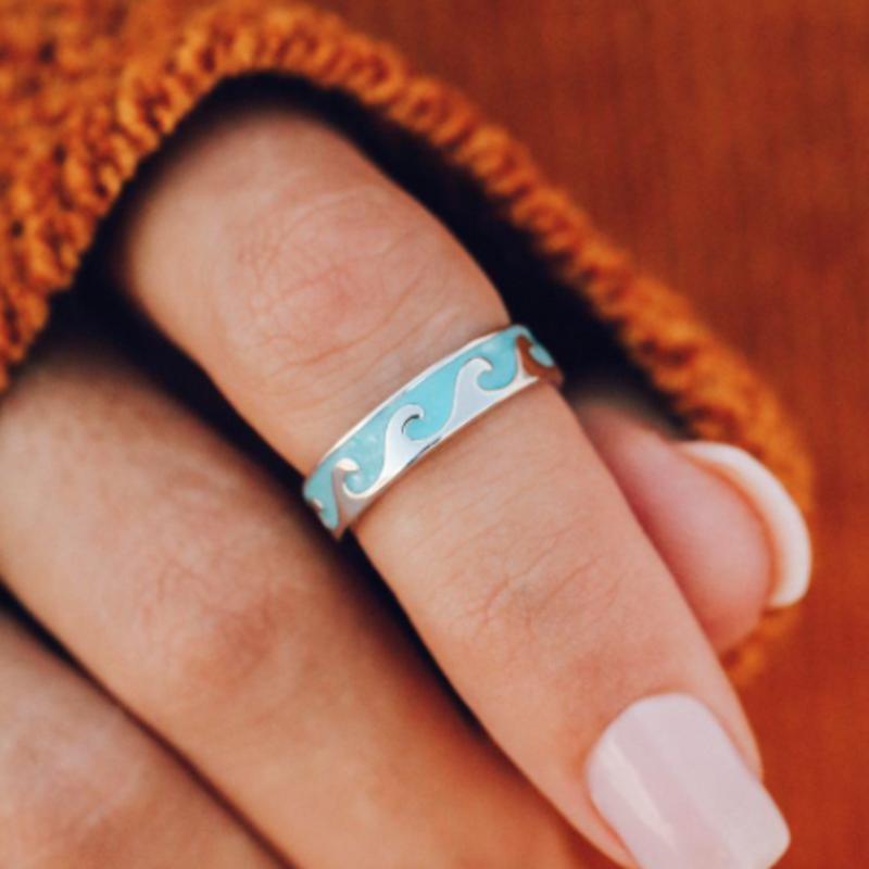 Puravida Pura Vida Silver Aqua Ring - Size 9