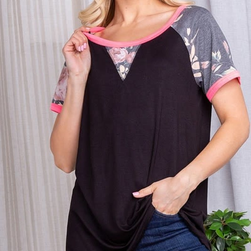 Heimish USA Black & Hot Pink Floral Top (S-3XL)