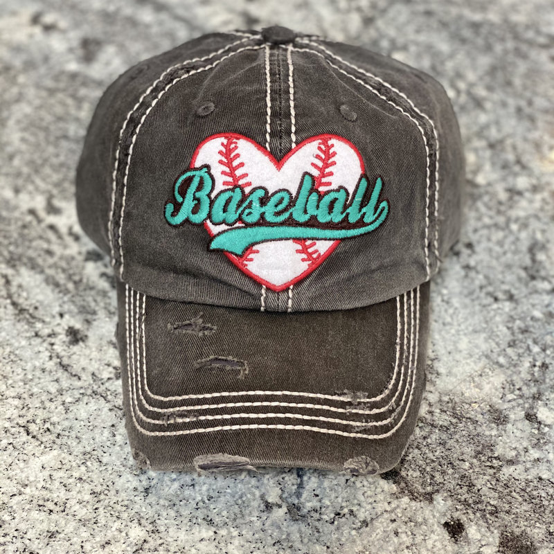 Too Too Hat Charcoal Heart Baseball Vintage Hat