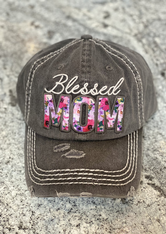 Too Too Hat Charcoal Floral Blessed Mom Vintage Hat