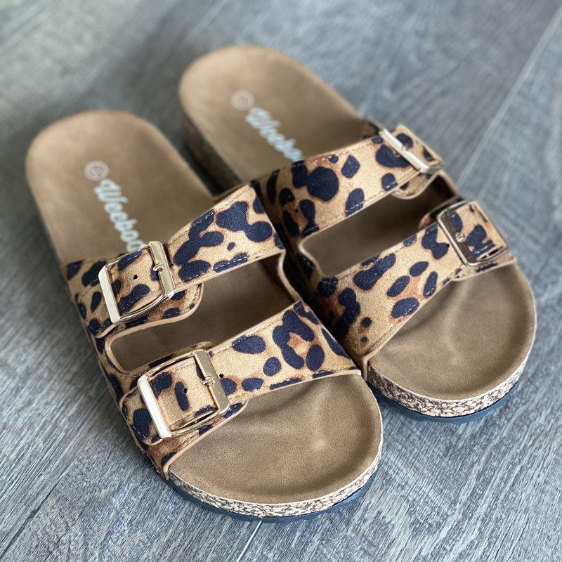 Weeboo Double Buckle Leopard Sandals (5.5 - 11)