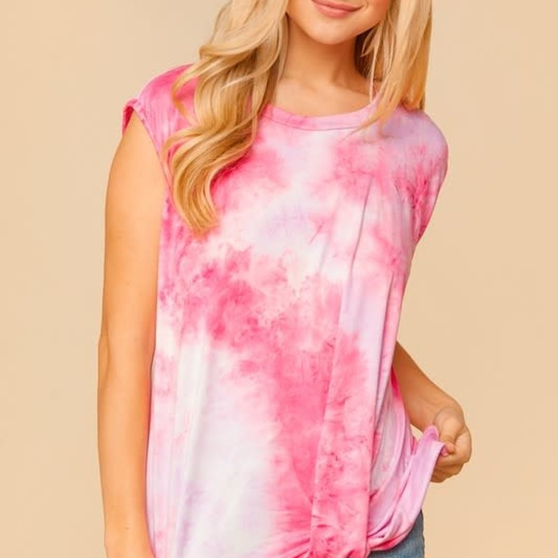 Haptics Pink Tie Dye Twist Tank (S-3XL)