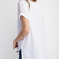 Rae Mode Oversized White Basic V-Neck Tee (S-3XL)