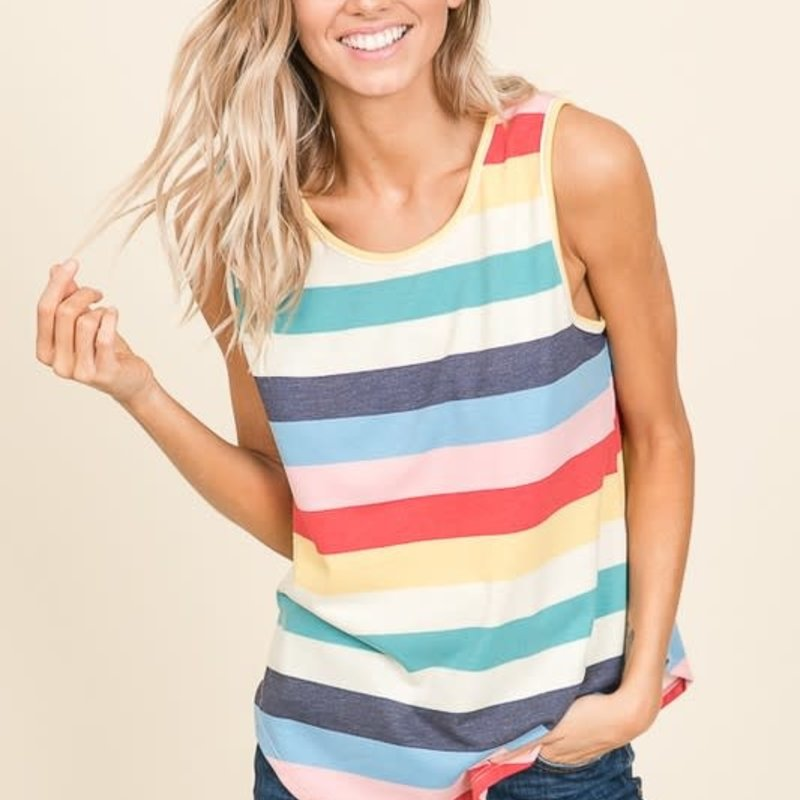 BomBom Multi Color Stripe Tank (S-XL)