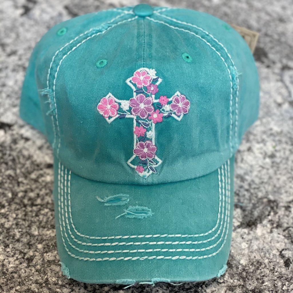 Hana Turquoise Floral Cross Vintage Hat