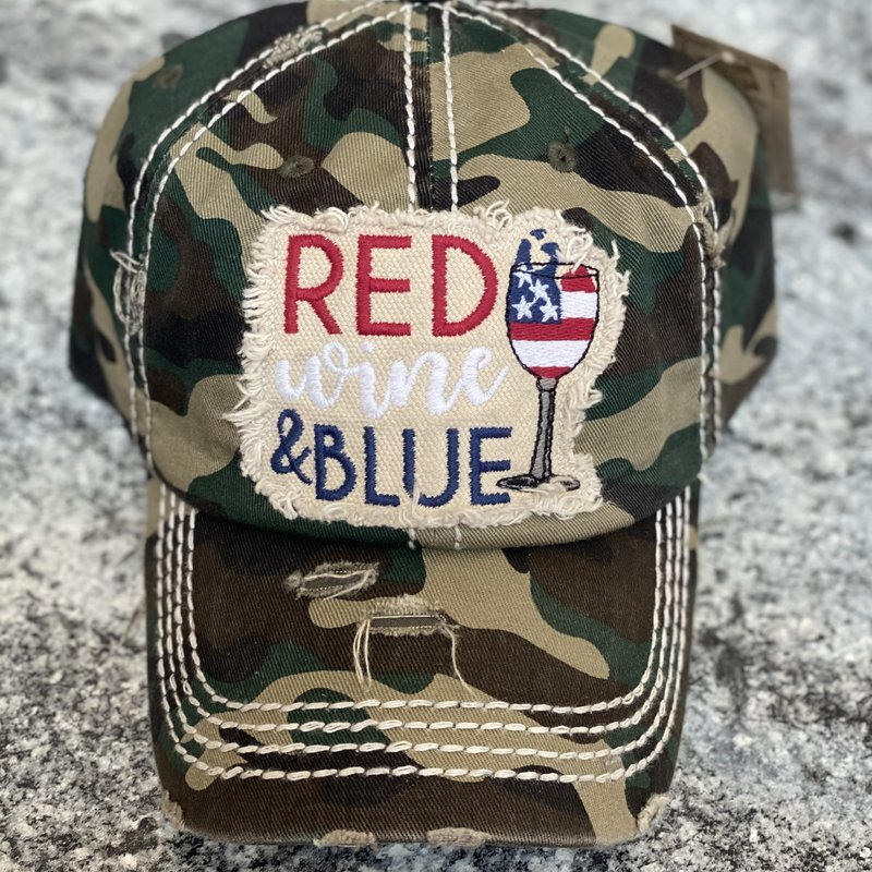 Hana Camo Red Wine & Blue Vintage Hat