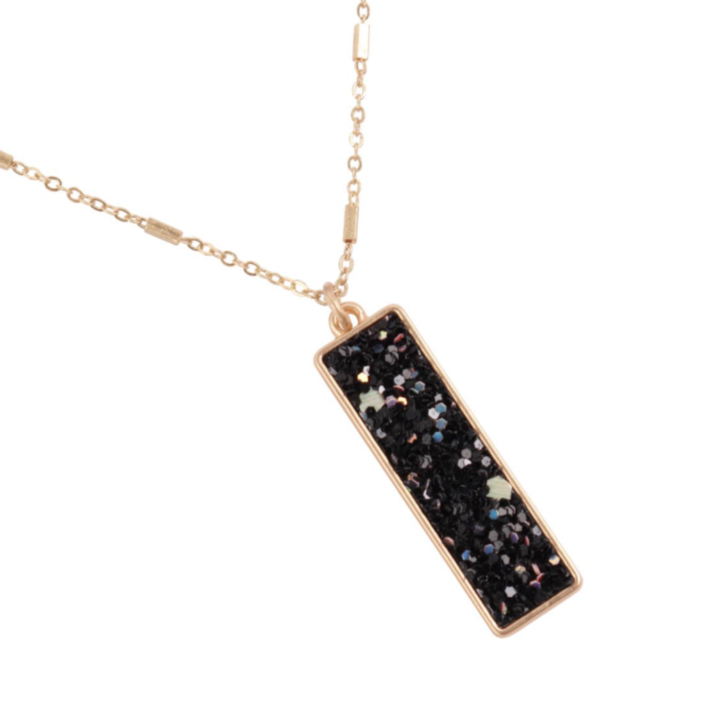 MYS Sequin Glitter Bar Pendant Necklace