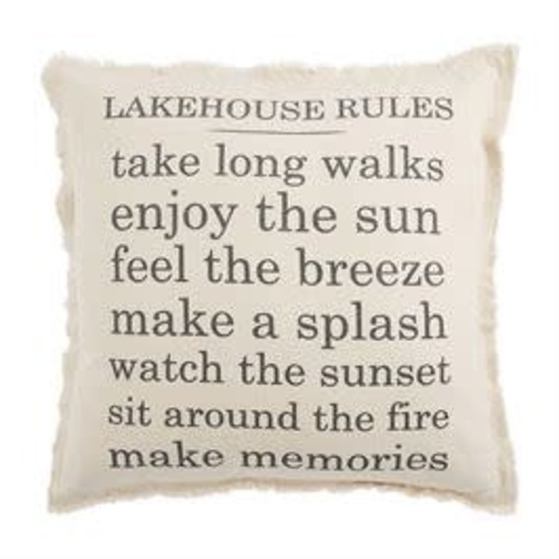 Mud Pie Mud Pie Lake House Rules Pillow