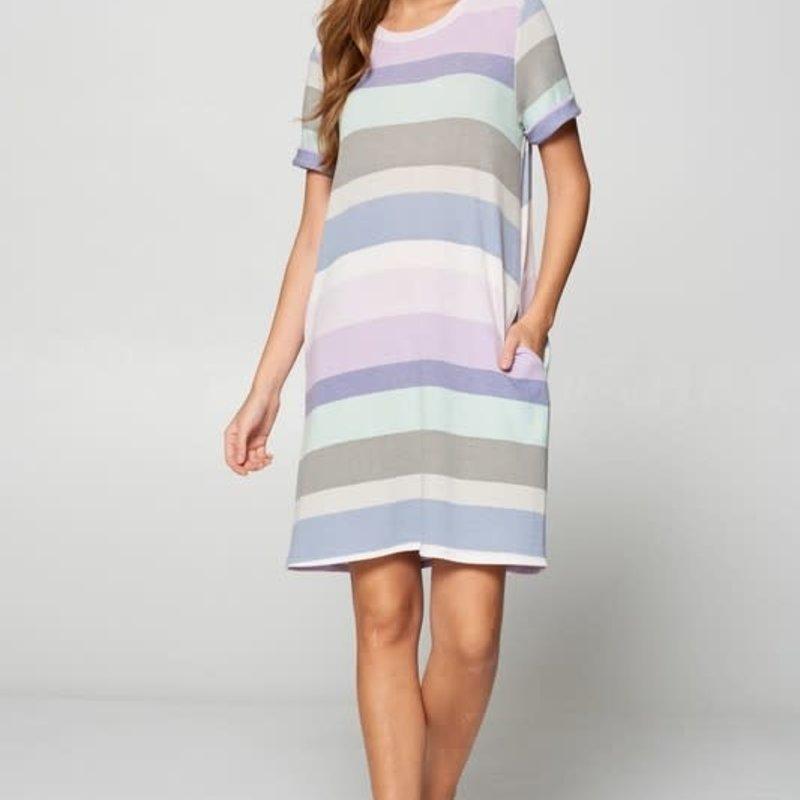 Vanilla Bay Blue Stripe French Terry Dress (S-3XL)