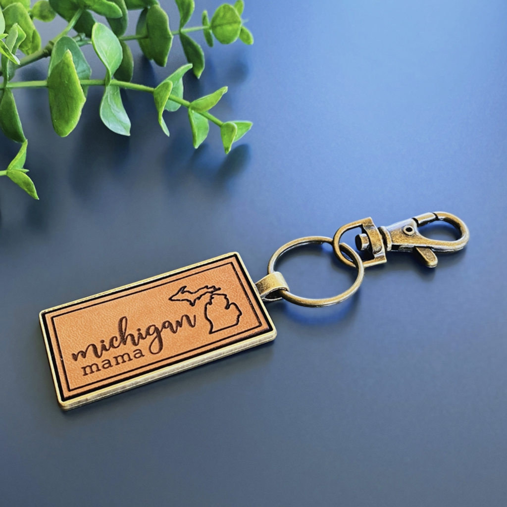 Emerald + Clay E+C Michigan Mama Engraved Leather Keychain