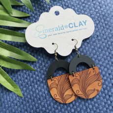 Emerald + Clay E+C Tropical Engraved Leather Earrings