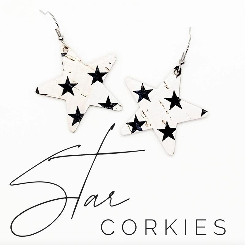 Emerald + Clay Black Star Corky Earrings