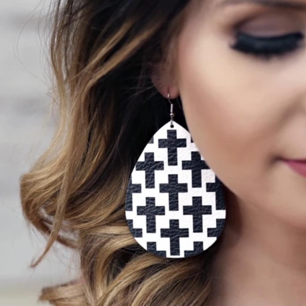 Southern Charm Trading Co Black & White Cross Teardrop Leather Earrings