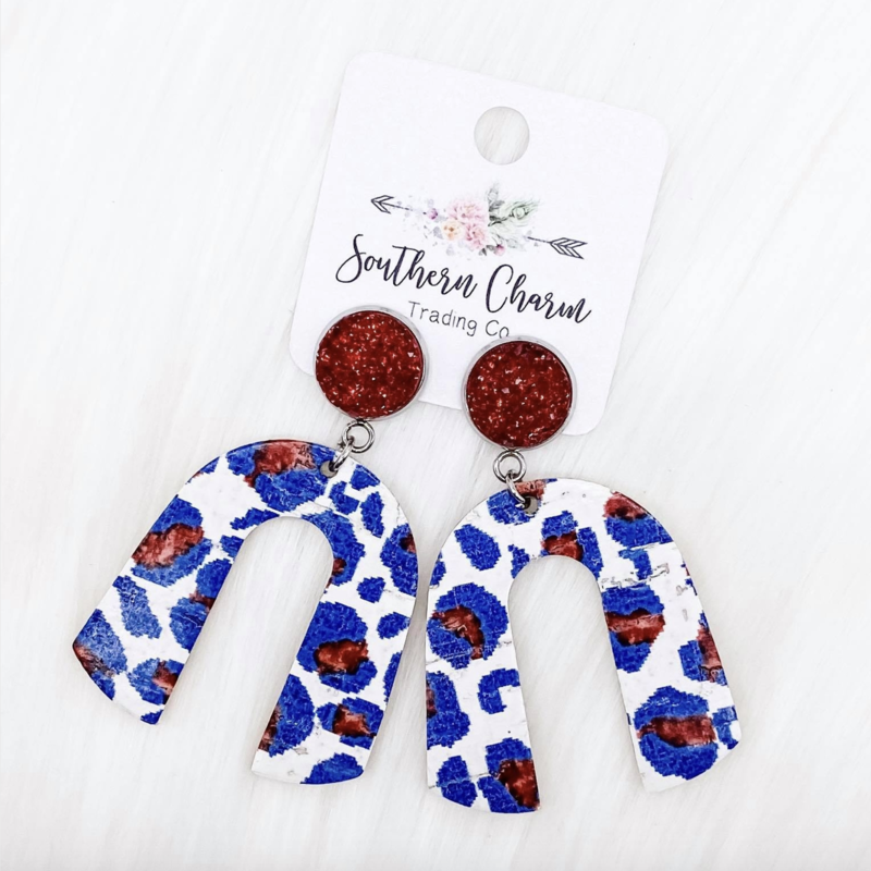 Southern Charm Trading Co Patriotic Leopard Rainbow Dangle Leather Earrings