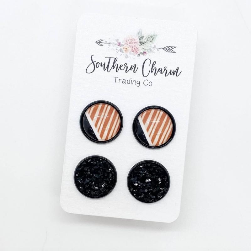 Southern Charm Trading Co Black & Orange Stripe Stud Earrings