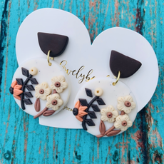 Lovelybeadz Brown Floral Clay Earrings