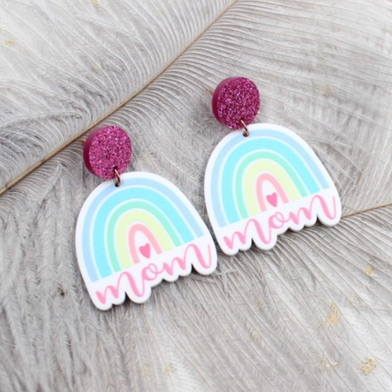 Lovelybeadz Mama White Rainbow Earrings
