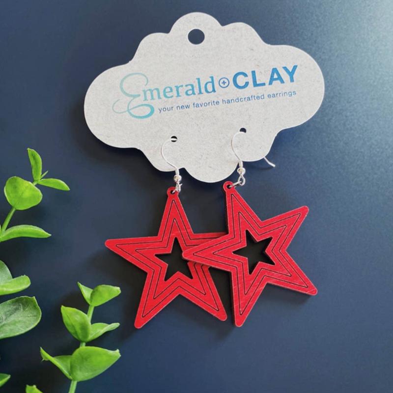 Emerald + Clay E+C Red Wood Star Earrings