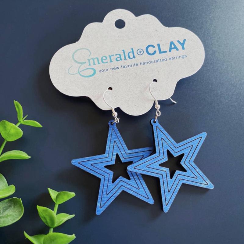 Emerald + Clay E+C Blue Wood Star Earrings