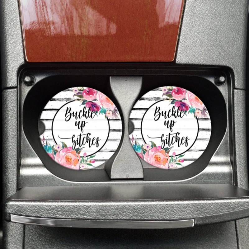 Mugsby Buckle Up Bitches Car Coaster Set