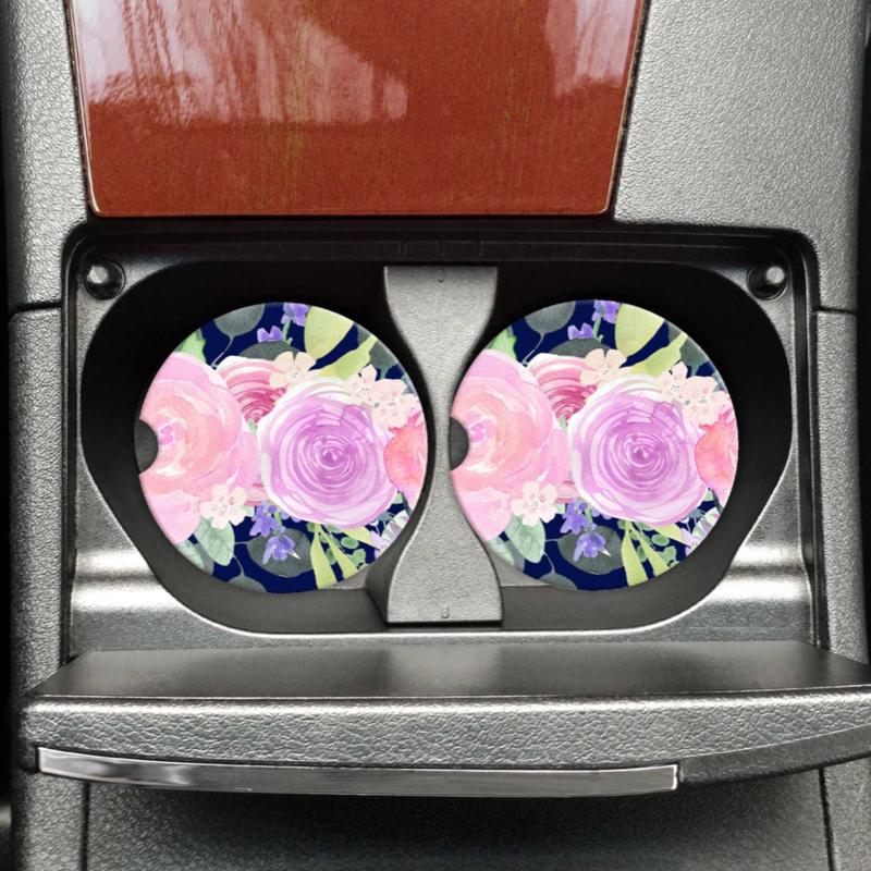 Mugsby Jewel Tone Floral Car Coaster Set