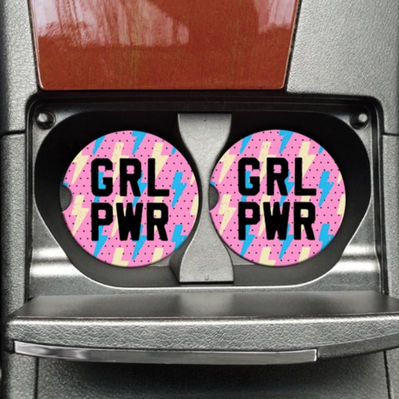 Mugsby GRL PWR Car Coaster Set