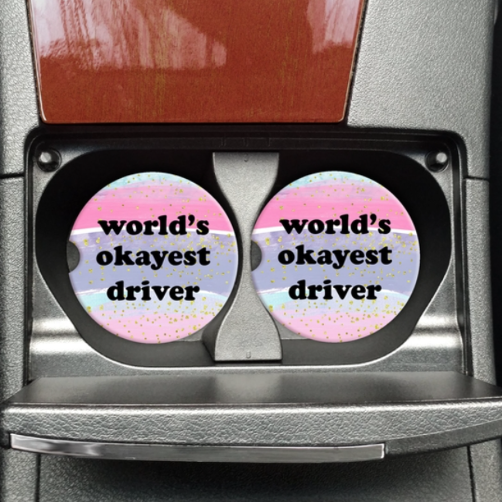 Mugsby Worlds Okayest Driver Car Coaster Set
