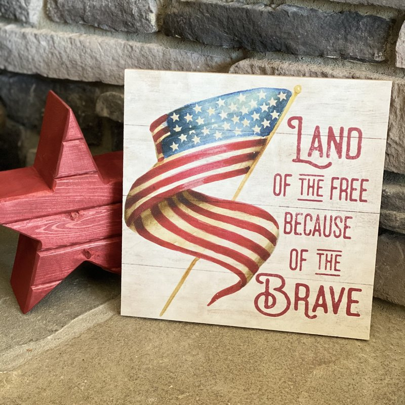 """Kindred Hearts 10""""x10"""" Land of the Free Sign"""