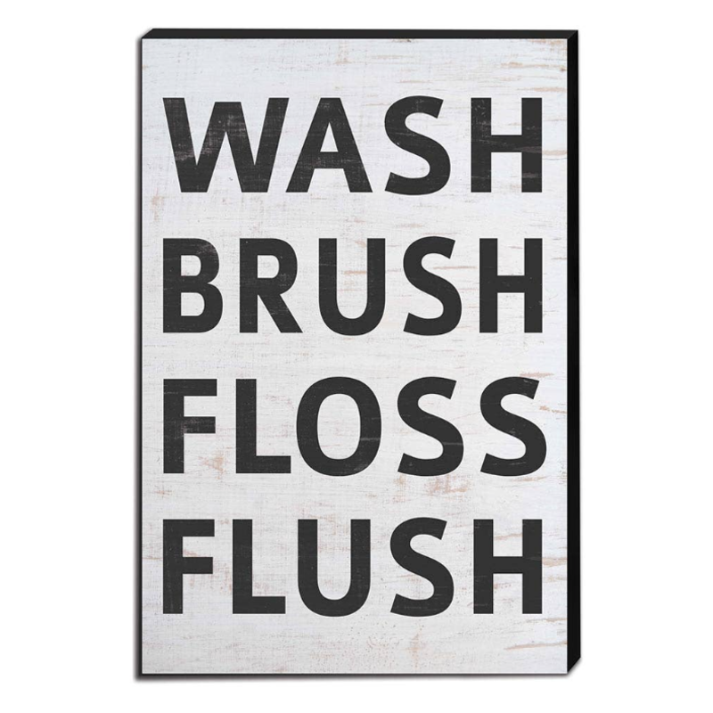"""Kindred Hearts 12"""" x 18"""" Wash Brush Floss Sign"""