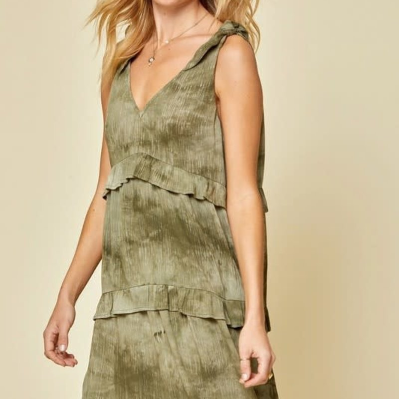 Andree by Unit Olive Tie Dye Babydoll Dress (S-3XL)