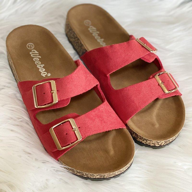 Weeboo Red Suede Buckle Sandals (8.5-10)