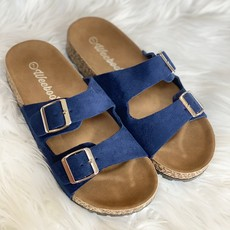 Weeboo Navy Suede Buckle Sandals (6.5-11)