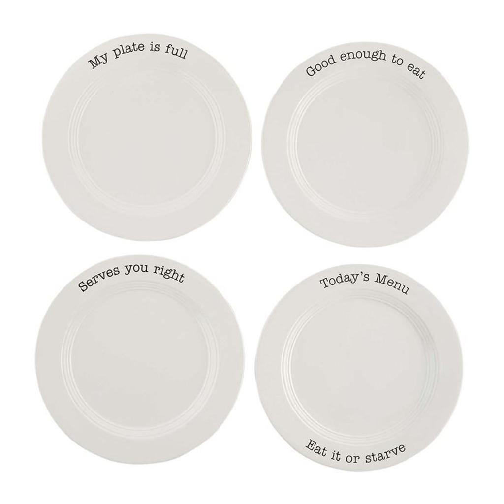"""Mud Pie Mud Pie Bistro 11"""" Plate Set of 4"""