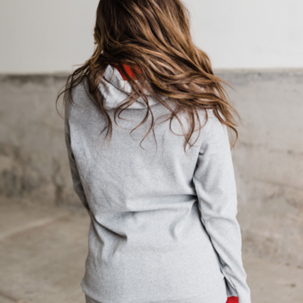 AMPERSAND AVE USA Grey & Red Ampersand Ave Doublehood (S-3XL)