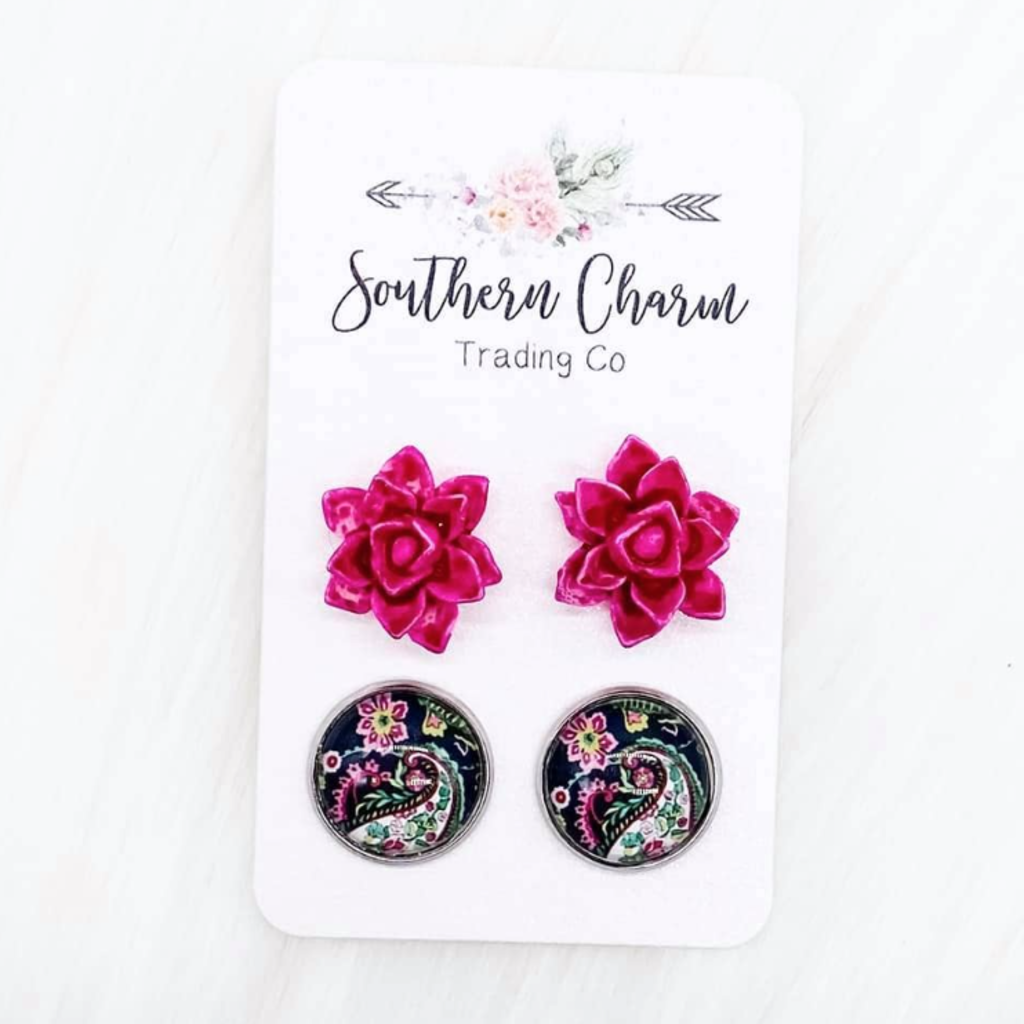 Southern Charm Trading Co Hot Pink Succulent & Paisley Stud Set