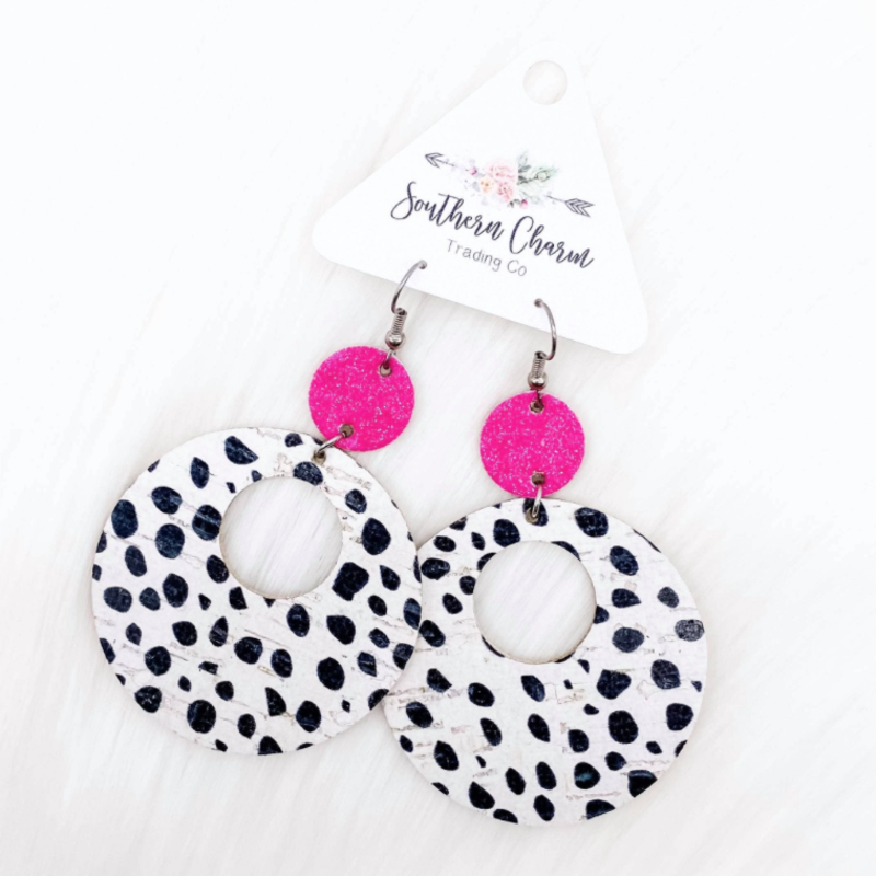 Southern Charm Trading Co Hot Pink Glitter Dalmation Circle Earrings