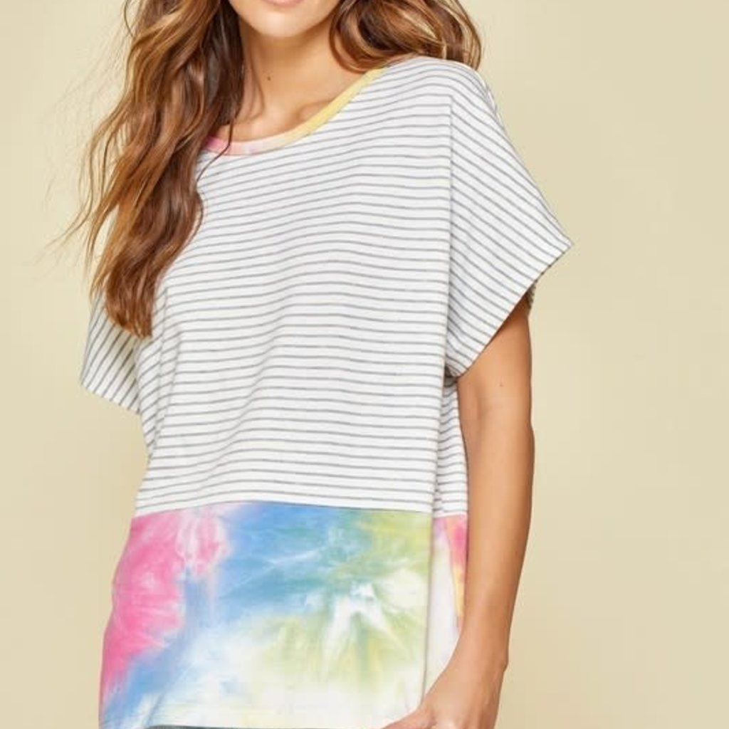 Andree by Unit Relaxed Tie Dye Stripe Top (S-3XL)