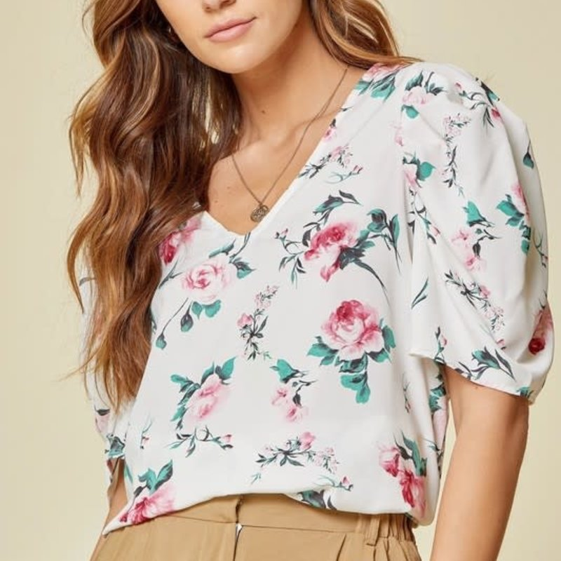 Andree by Unit Ivory Floral Blouse (S-L)