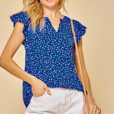 Andree by Unit Royal Blue Spotted Blouse (1XL-3XL)