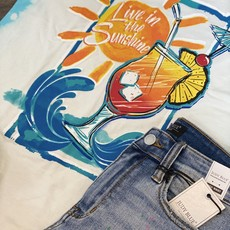 Comfort Wash Live in the Sunshine Bleached Teal Tee (S-3XL)