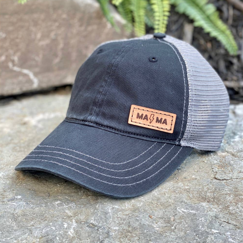 Emerald + Clay MAMA Lightning Leather Patch Black Hat