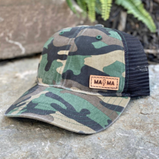 Emerald + Clay MAMA Lightning Leather Patch Camo Hat