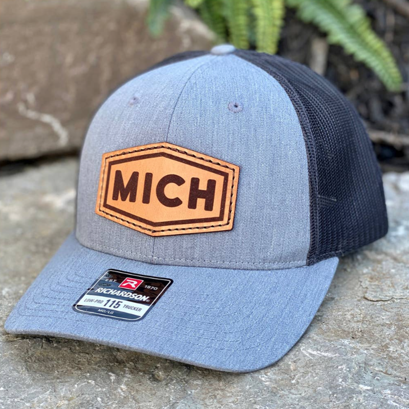 Emerald + Clay MICH Leather Patch Gray Hat