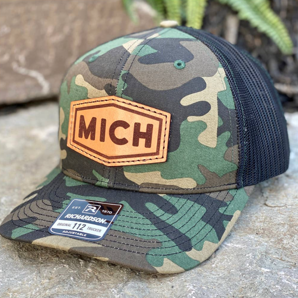 Emerald + Clay MICH Leather Patch Camo Hat