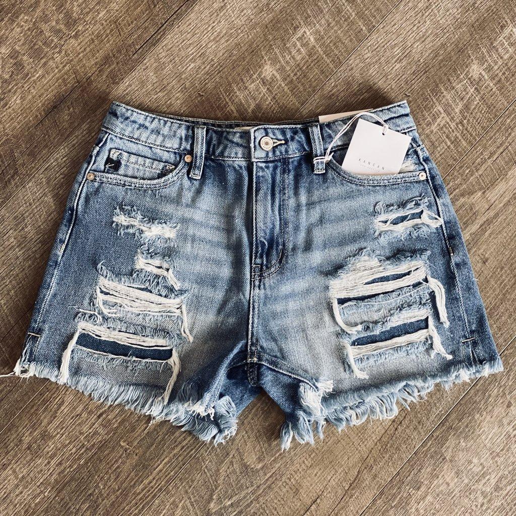 KanCan KanCan Mom Frayed Shorts (3/25-22W)