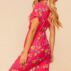 Haptics Fucshia Floral Midi Dress (S-3XL)