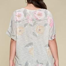 Oddi Gray Floral Knit Top (S-3XL)