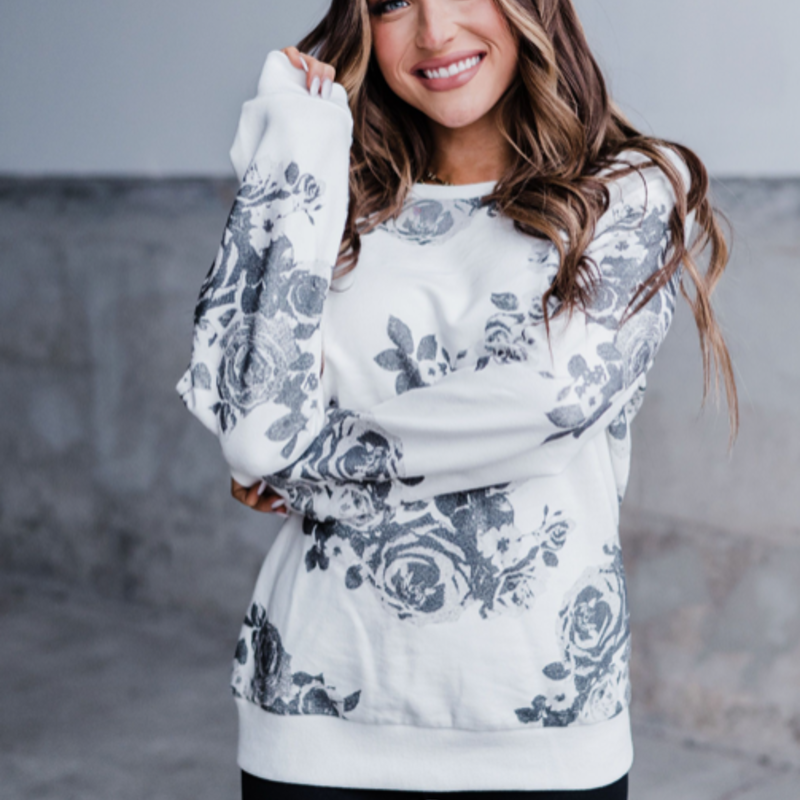AMPERSAND AVE Bed of Roses Pullover Crew - Ampersand Ave (XS-3XL)