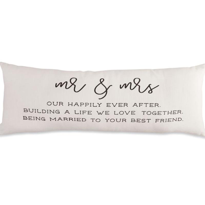 Mud Pie Mr & Mrs Long Sentiment Pillow