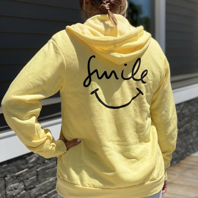 Bella Canvas Yellow Smile Zip Up Hoodie (S-XL)